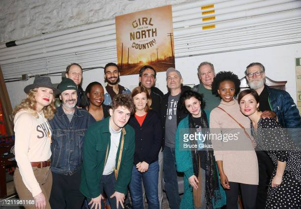 "Bobby Cannavale and Rose Byrne pose at backstage with the cast at the hit Bob Dylan musical ""Girl from The North Country"" on Broadway at The Belasco..."