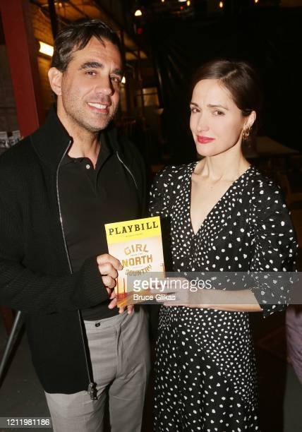 "Bobby Cannavale and Rose Byrne pose backstage at the hit Bob Dylan musical ""Girl from The North Country"" on Broadway at The Belasco Theatre on March..."