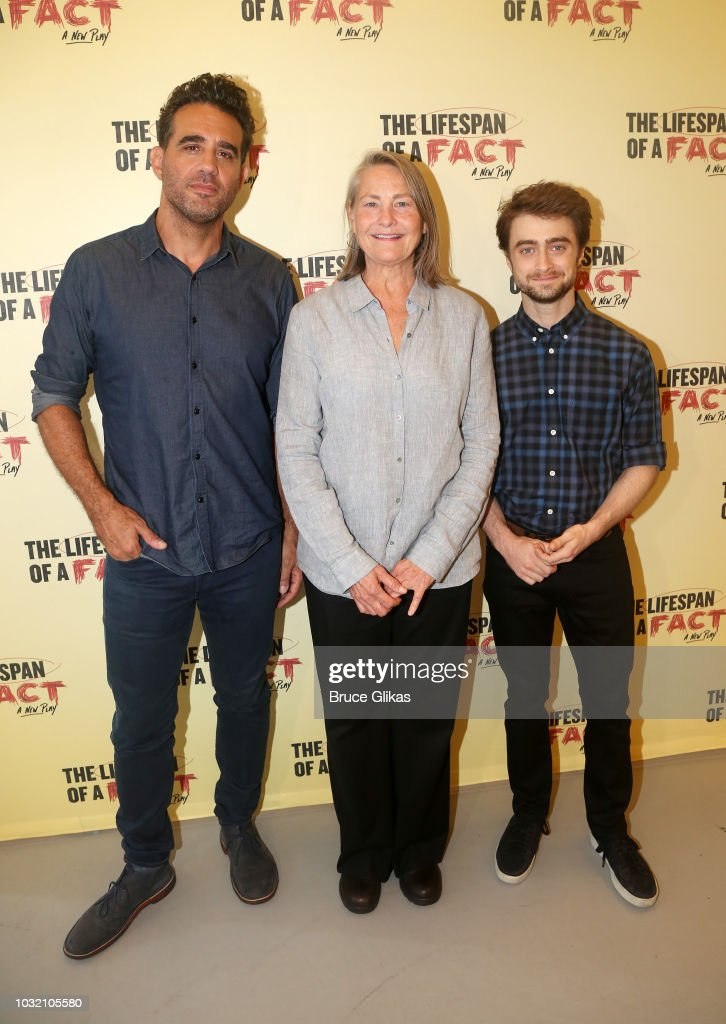 Bobby Cannavale, Cherry Jones and Daniel Radcliffe pose at the 'The Lifespan Of A Fact' photo call and meet & greet at The New 42nd Street Studios on September 6, 2018 in New York City.