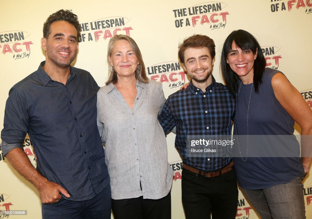 Bobby Cannavale, Cherry Jones, Daniel Radcliffe and Director Leigh Silverman pose at the 'The Lifespan Of A Fact' photo call and meet & greet at The New 42nd Street Studios on September 6, 2018 in New York City.