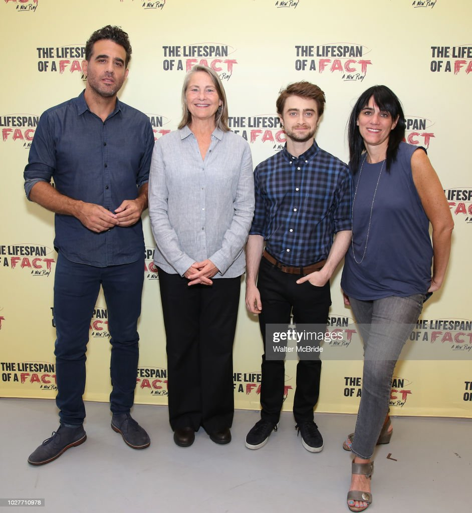Bobby Cannavale, Cherry Jones, Daniel Radcliffe and director Leigh Silverman attend the cast photo call for 'The Lifespan of a Fact' at the New 42nd Street Studios on September 6, 2018 in New York City.