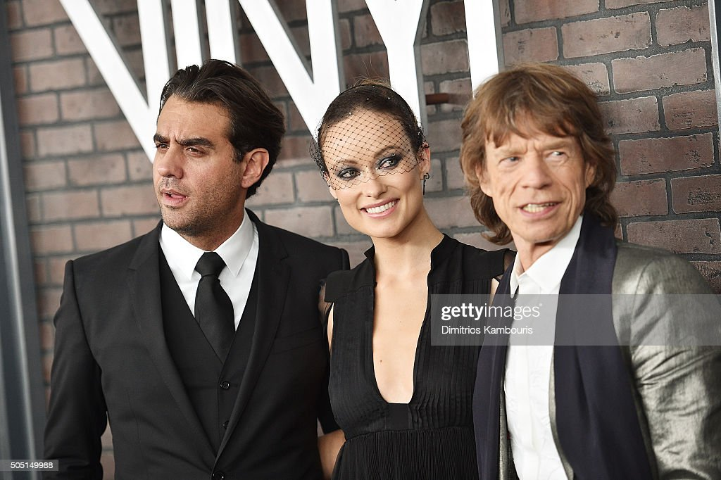 Bobby Cannavale, Olivia Wilde, and Mick Jagger attend the New York premiere of 'Vinyl' at Ziegfeld Theatre on January 15, 2016 in New York City.