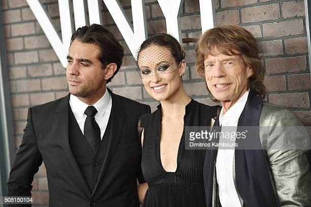 Bobby Cannavale Olivia Wilde and Mick Jagger attend the New York premiere of 'Vinyl' at Ziegfeld Theatre on January 15 2016 in New York City