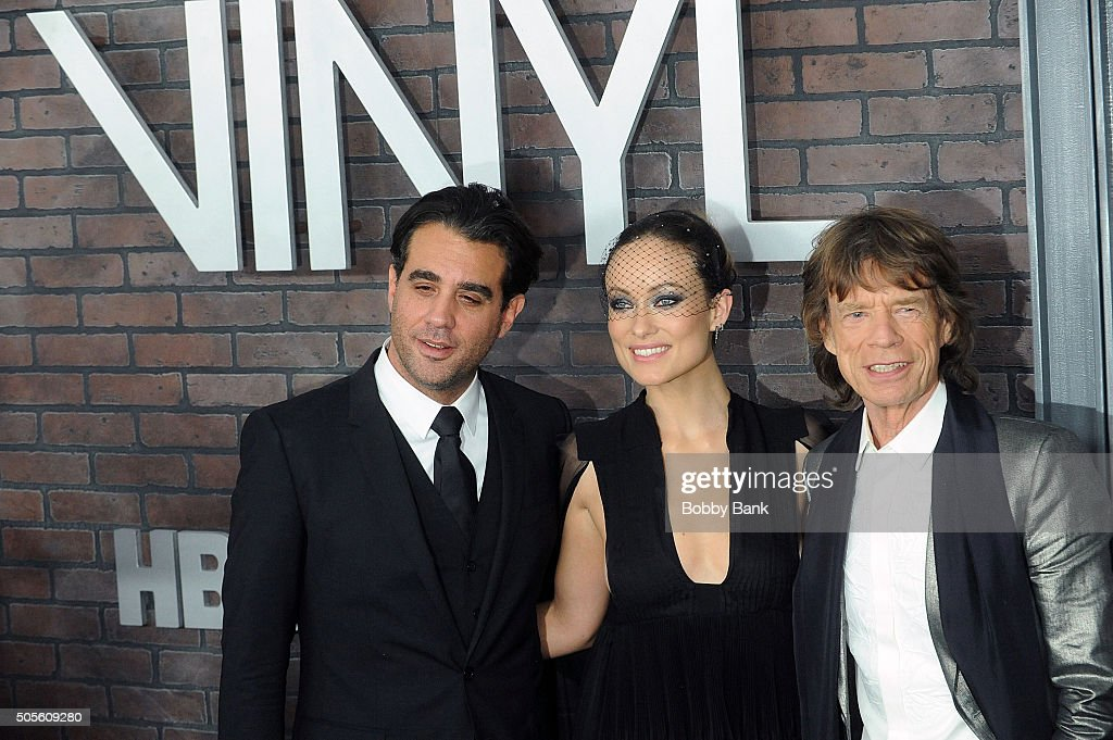 Bobby Cannavale, Olivia Wilde and Mick Jagger attends the 'Vinyl' New York Premiere at Ziegfeld Theatre on January 15, 2016 in New York City.