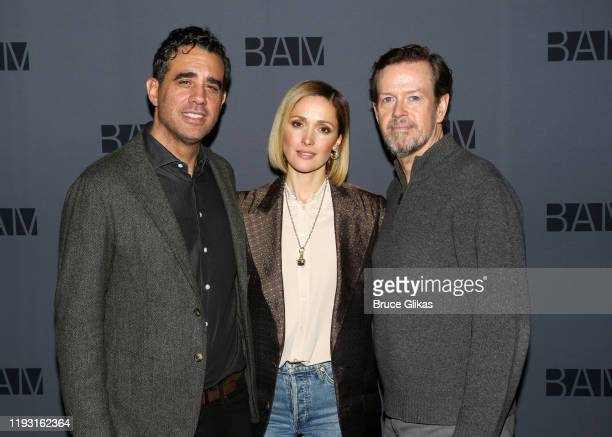 Bobby Cannavale Rose Byrne and Dylan Baker pose at a photo call for the upcoming production of Medea at BAM on December 10 2019 in The Brooklyn...