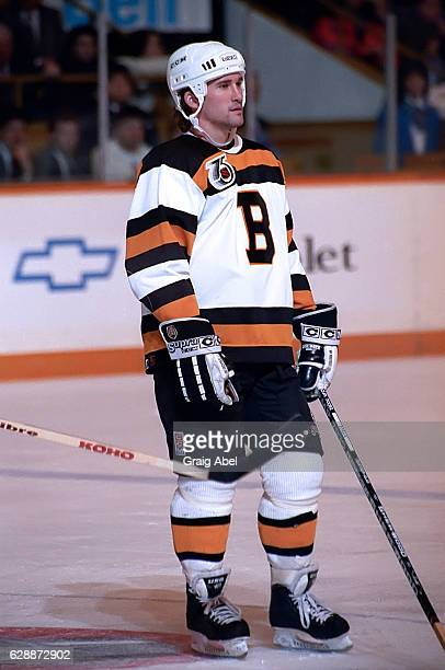 Bobby Carpenter of the Boston Bruins prepares for the faceoff against the Toronto Maple Leafs during game action on January 22 1992 at Maple Leaf...
