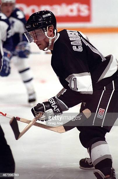 Bobby Carpenter of the Los Angeles Kings prepares for the faceoff against the Toronto Maple Leafs during game action on November 5 1988 at Maple Leaf...
