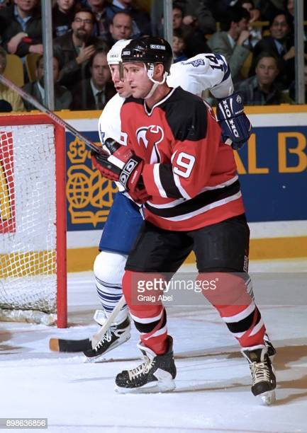 Bobby Carpenter of the New Jersey Devils skates against the Toronto Maple Leafs during NHL action on March 6 1996 at Maple Leaf Gardens in Toronto...