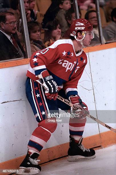 Bobby Carpenter of the Washington Capitals controls the puck against the Toronto Maple Leafs during preseason action in October 1984 at Maple Leaf...