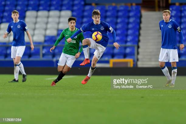 Bobby Carroll of Everton on the ball during the FA Youth Cup match between Everton and Brighton Hove Albion at Goodison Park on February 12 2019 in...