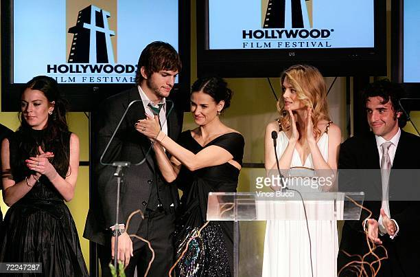 'Bobby' cast Lindsay Lohan Ashton Kutcher Demi Moore Heather Graham and David Krumholtz accept the Ensemble award at The Hollywood Film Festival 10th...