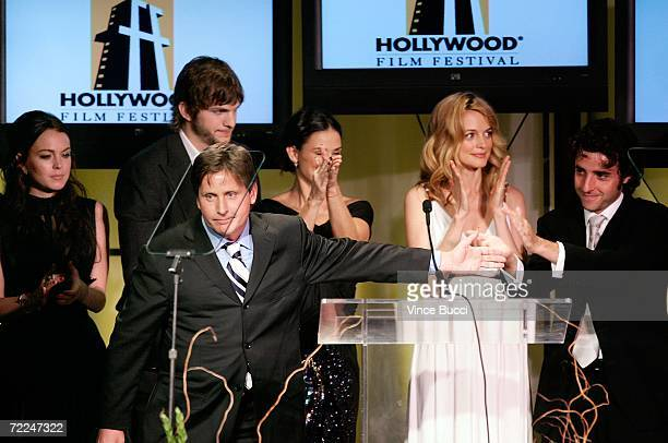 'Bobby' cast Lindsay Lohan Ashton Kutcher Emilio Estevez Demi Moore Heather Graham and David Krumholtz accept the Ensemble award at The Hollywood...