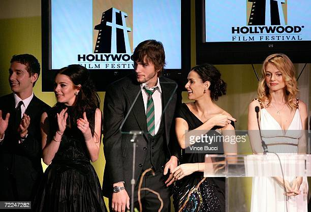 'Bobby' cast Shia LaBeouf Lindsay Lohan Ashton Kutcher Demi Moore Heather Graham accept the Ensemble award at The Hollywood Film Festival 10th Annual...