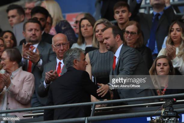 Bobby Charlton and Ed Woodward Chief Executive of Manchester United look on at Jose Mourinho during The Emirates FA Cup Final between Chelsea and...
