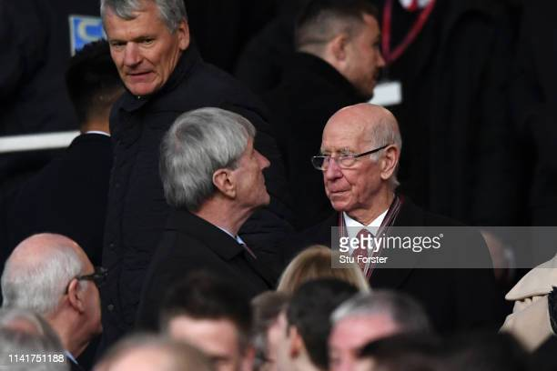 Bobby Charlton Former Manchester United player is seen prior to the UEFA Champions League Quarter Final first leg match between Manchester United and...