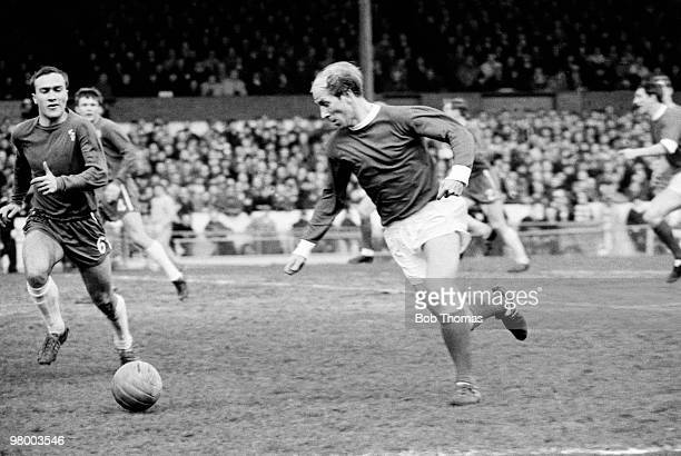 Bobby Charlton in action for Manchester United during their First Division league match against Chelsea at Stamford Bridge in London 12th March 1966...