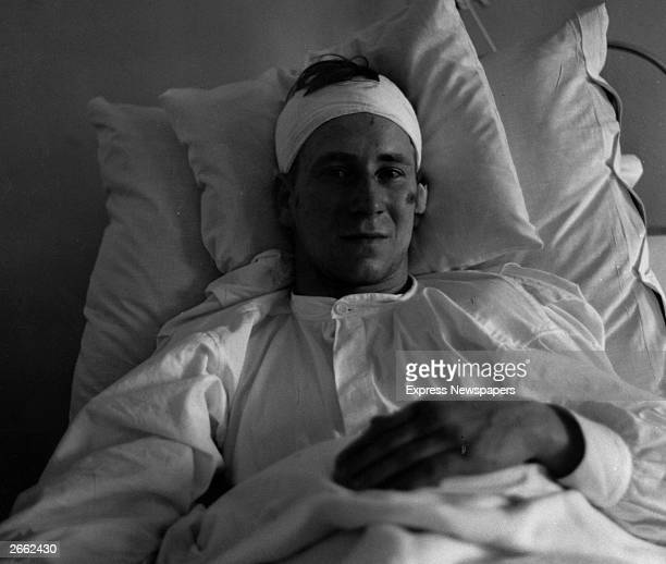 Bobby Charlton recovering in a Munich hospital bed after the aeroplane crash on the 1st February 1958 in which several members of the Manchester...