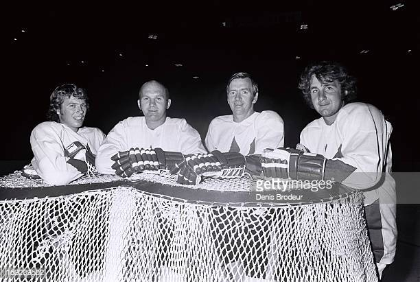 Bobby Clarke Gary Bergman Red Berenson and Rod Seiling of team Canada pose for a picture circa 1972 in Montreal Canada