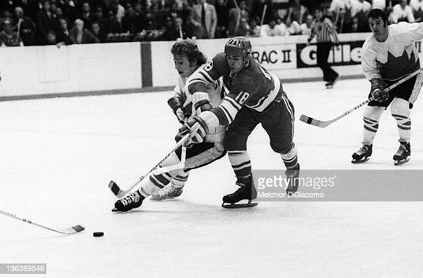 Bobby Clarke of Canada battles with Vladimir Vikulov of the Soviet Union during the 1972 Summit Series at the Luzhniki Ice Palace in Moscow Russia