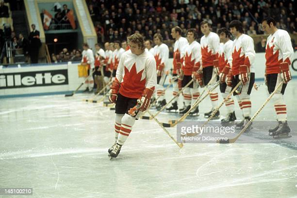 Bobby Clarke of Canada is introduced before Game 5 of the 1972 Summit Series against the Soviet Union on September 22 1972 at the Luzhniki Ice Palace...