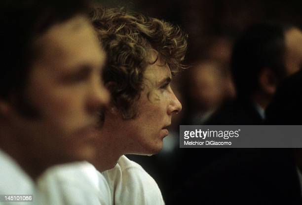 Bobby Clarke of Canada looks on from the bench during the game against the Soviet Union during the 1972 Summit Series in September 1972 at the...