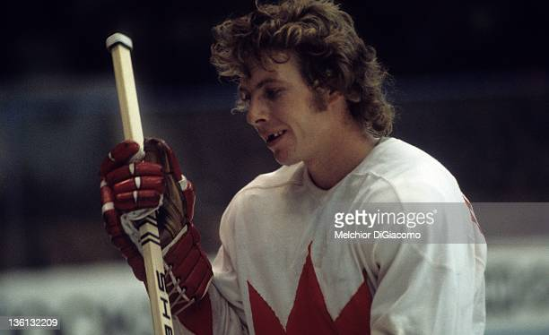 Bobby Clarke of Canada skates to the bench during the game against the Soviet Union in the 1972 Summit Series at the Luzhniki Ice Palace in Moscow...