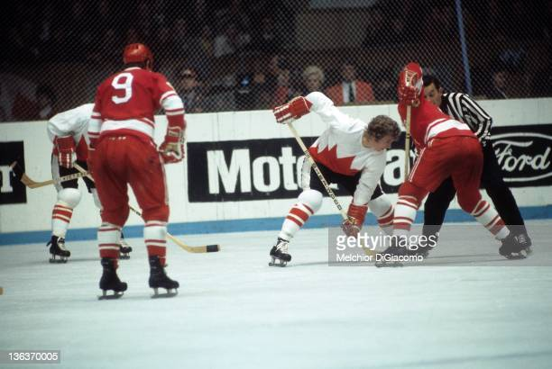Bobby Clarke of Canada takes the faceoff during the game against the Soviet Union in the 1972 Summit Series at the Luzhniki Ice Palace in Moscow...