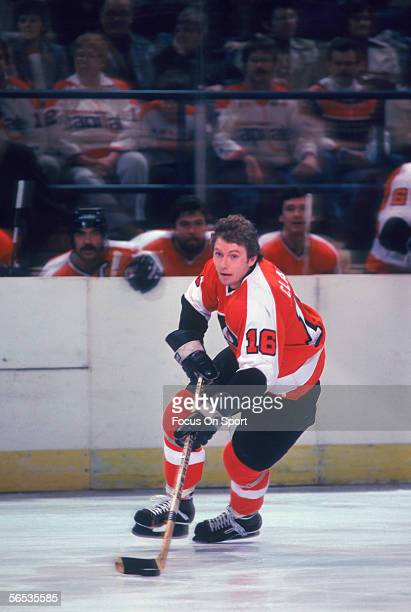 Bobby Clarke of the Philadelphia Flyers carries the puck against the Washington Capitals circa the 1970's during a game