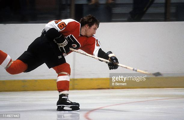 Bobby Clarke of the Philadelphia Flyers takes a slapshot during an NHL game circa 1978