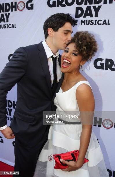 Bobby Conte Thornton and Ariana Debose pose at the opening night of the new musical based on the film Groundhog Day on Broadway at The August Wilson...