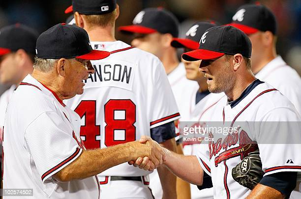 Bobby Cox and Billy Wagner of the Atlanta Braves against the Tampa Bay Rays at Turner Field on June 17 2010 in Atlanta Georgia