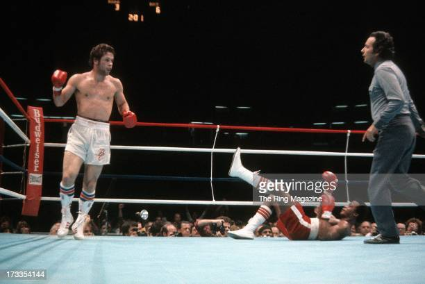Bobby Czyz knocks down Elisha Obed during the fight at Meadowlands Arena in East Rutherford, New Jersey. Bobby Czyz won by a DQ 6.