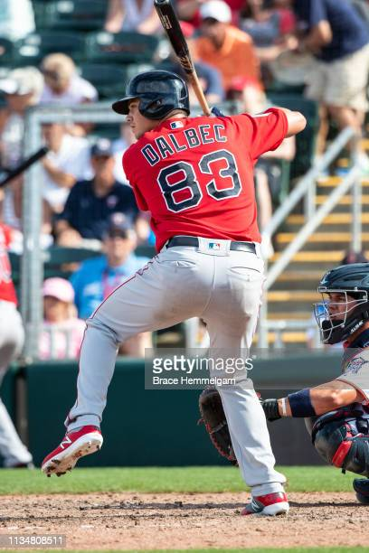 Bobby Dalbec of the Boston Red Sox bats during a spring training game against the Minnesota Twins on March 1, 2019 at Hammond Stadium in Fort Myers,...