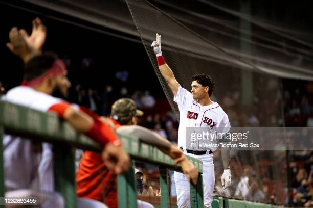 Bobby Dalbec of the Boston Red Sox gives a curtain call after hitting a go-ahead two run home run during the eighth inning of a game against the Los...