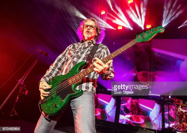 Bobby Dall of Poison performs during the Nothin' But a Good Time Tour 2018 at DTE Energy Music Theater on June 8 2018 in Clarkston Michigan