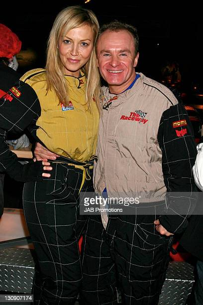 Bobby Davro and guest during GoKarting Extravaganza Hosted by Rick Parfitt Jr at Kings Cross GoKart Track in London Great Britain