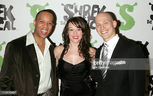 """Bobby Daye, Cameron Adams and Justin Greer attend the opening night party for """"Shrek The Musical"""" on Broadway at the Plaza hotel on December 14, 2008..."""