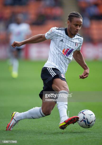Bobby Decordova-Reid of Fulham during the Sky Bet Championship match between Blackpool and Fulham at Bloomfield Road on September 11, 2021 in...