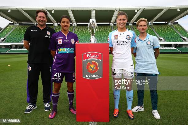 Bobby Despotovski and Samantha Kerr of the Perth Glory and Steph Catley and Jessica Fishlock of Melbourne City pose with the trophy during the...