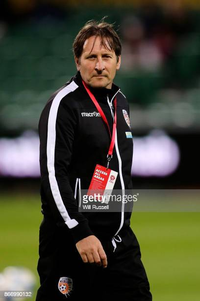 Bobby Despotovski coach of the Glory looks on before the round one WLeague match between the Perth Glory and Melbourne City FC at nib Stadium on...