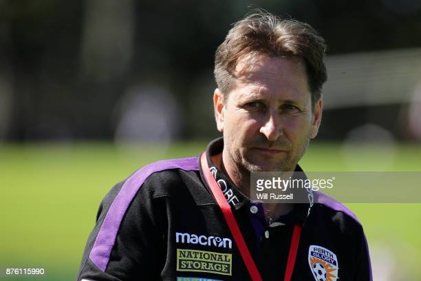 Bobby Despotovski coach of the Glory looks on during the round four WLeague match between Perth Glory and Melbourne Victory at nib Stadium on...