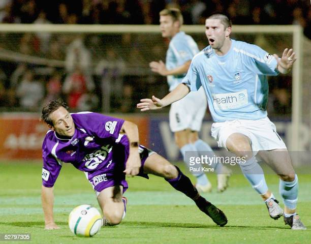 Bobby Despotovski of Perth contests the ball against Steve Corica of Sydney during the FIFA Club World Championship Australian Qualifying Tournament...