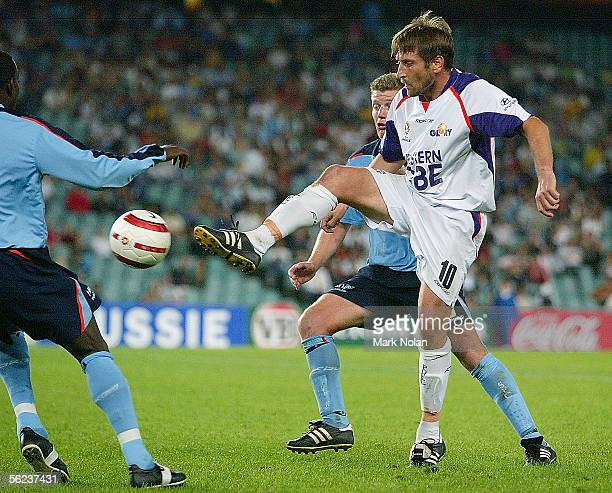 Bobby Despotovski of Perth in action during the round 13 ALeague match between Sydney FC and Perth Glory at Aussie Stadium on November 19 2005 in...