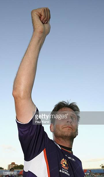 Bobby Despotovski of the Glory acknowledges the supporters after playing his final match during the round 20 Hyundai ALeague match between Perth...