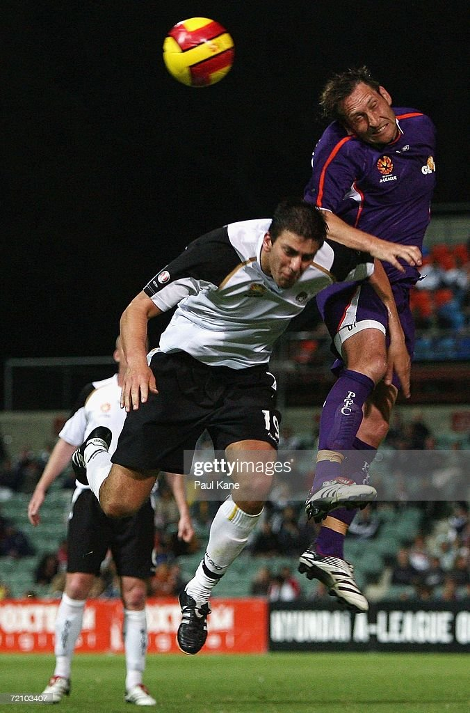Bobby Despotovski of the Glory and Sime Kovacevic of the Knights contest the ball during the round seven Hyundai A-League match between Perth Glory and the New Zealand Knights at Members Equity Stadium October 6, 2006 in Perth, Australia.