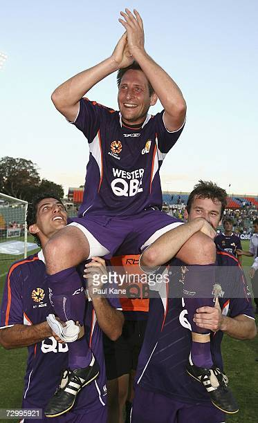 Bobby Despotovski of the Glory is chaired from the ground after playing his final match during the round 20 Hyundai ALeague match between Perth Glory...
