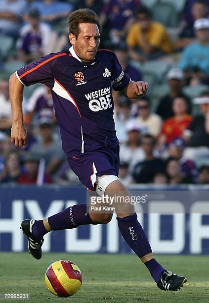 Bobby Despotovski of the Glory runs the ball down field during the round 20 Hyundai ALeague match between Perth Glory and the Newcastle Jets at...