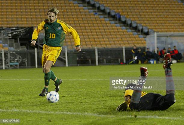 Bobby Despotovski of the Socceroos moves in to tap in for his hat trick against New Caledonia during the Oceania Nations Cup tournament in Auckland...