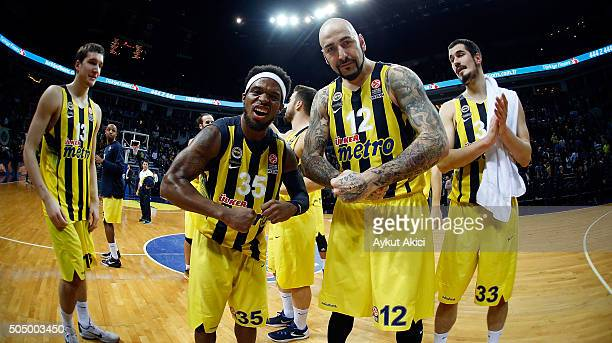 Bobby Dixon #35 of Fenerbahce Istanbul and Pero Antic #12 of Fenerbahce Istanbul celebrate victory during the Turkish Airlines Euroleague Basketball...