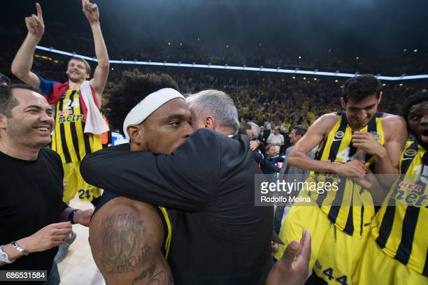 Bobby Dixon #35 of Fenerbahce Istanbul and Zeljko Obradovic Head Coach celebrates during the 2017 Final Four Istanbul Turkish Airlines EuroLeague...